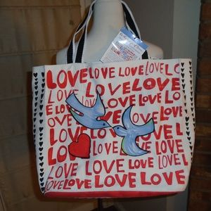 NWT BRIGHTON LOVE TOTE ~HEARTS ~ WINGS OF DOVES ~